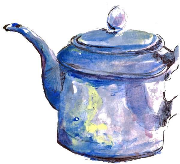Schilderkunst Sneek blauwe theepot